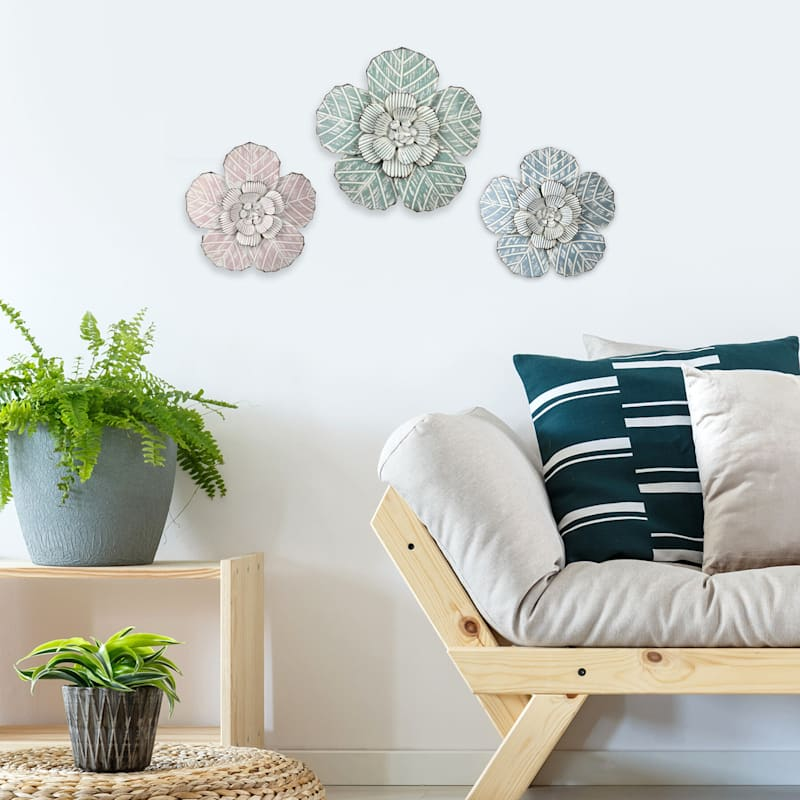 14X14 Embossed Metal Flower Wall Decor