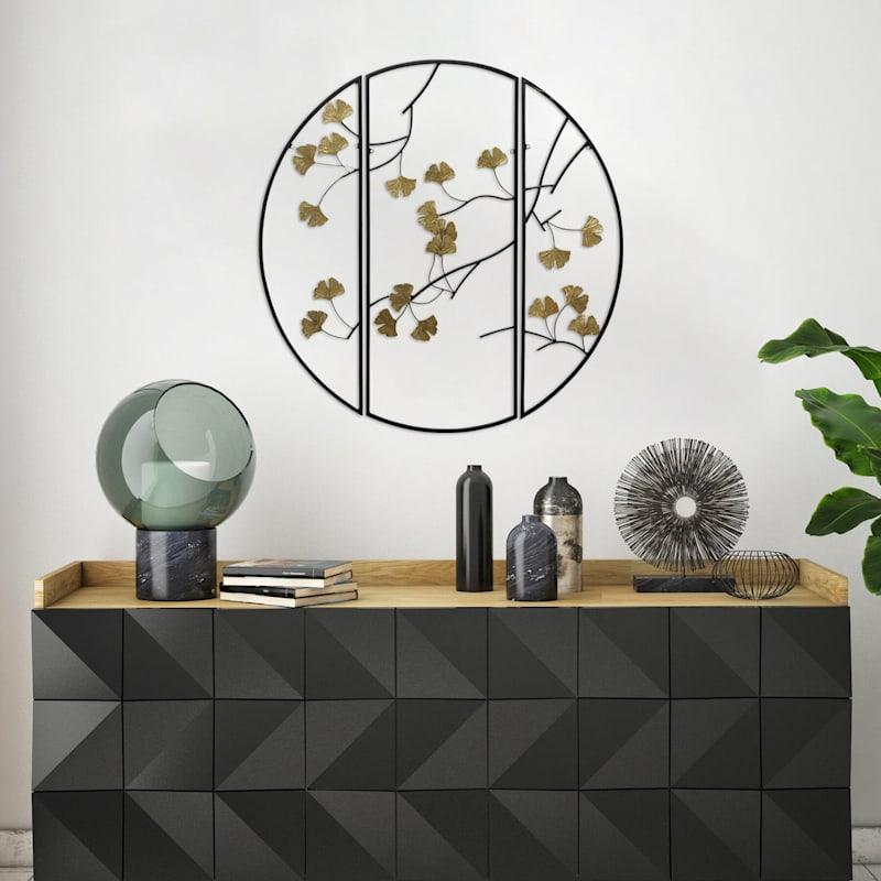 Tracey Boyd 31in. 3-Piece Round Metal Ginkgo Leaf Wall Decor