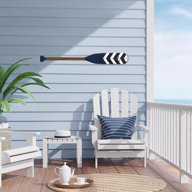 6X47 Wood Oar With Hooks Wall Decor