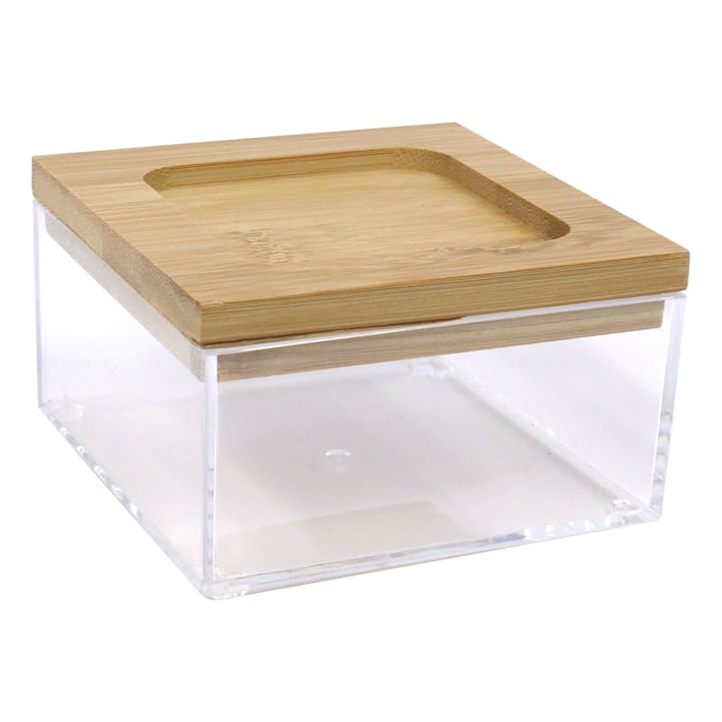 Small Square Clear Jewel Org W/Bamboo Lid