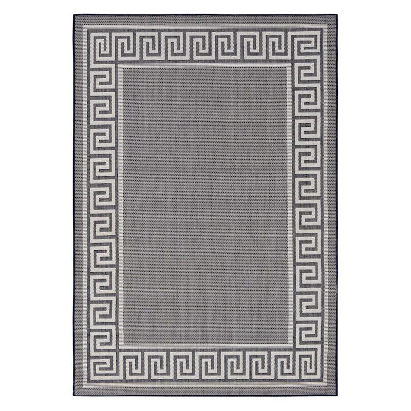 (E303) Dark Blue & Cream Sisal Look Outdoor Greek Key Border Design, 8x10
