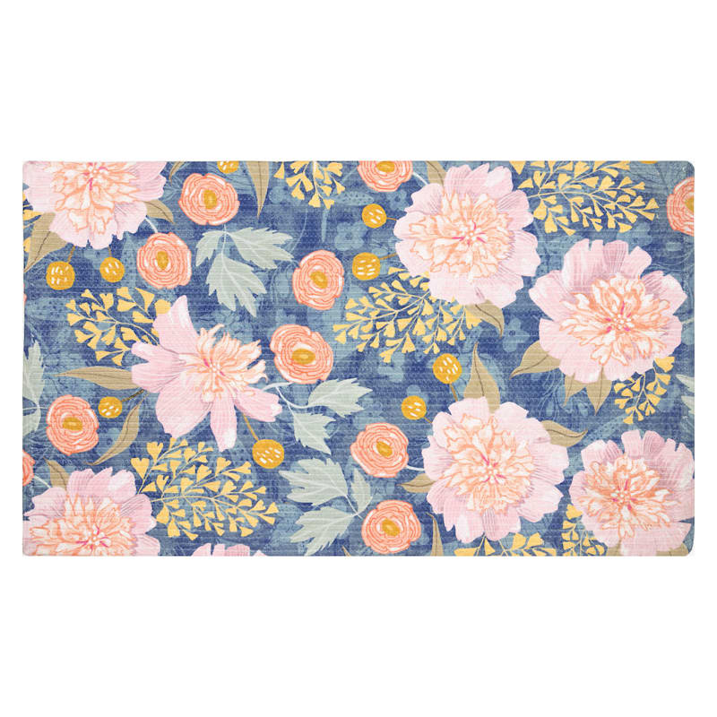Petunia Floral Blue Pink Accent Rug, 2x4