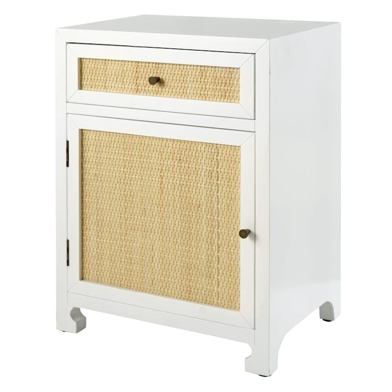Grace Mitchell Rattan 1 Drawer 1 Door Wood Cabinet