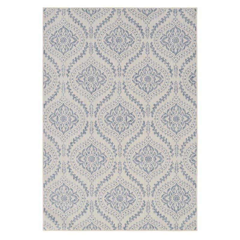(E304) Blue & Ivory Sisal Look Outdoor Quatrefoil Design Rug, 5x7
