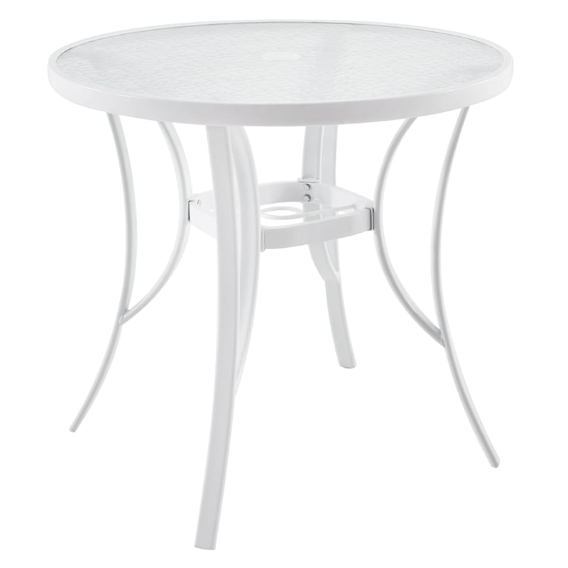 Steel White Round Table With Water Wave Glass Top, 30""