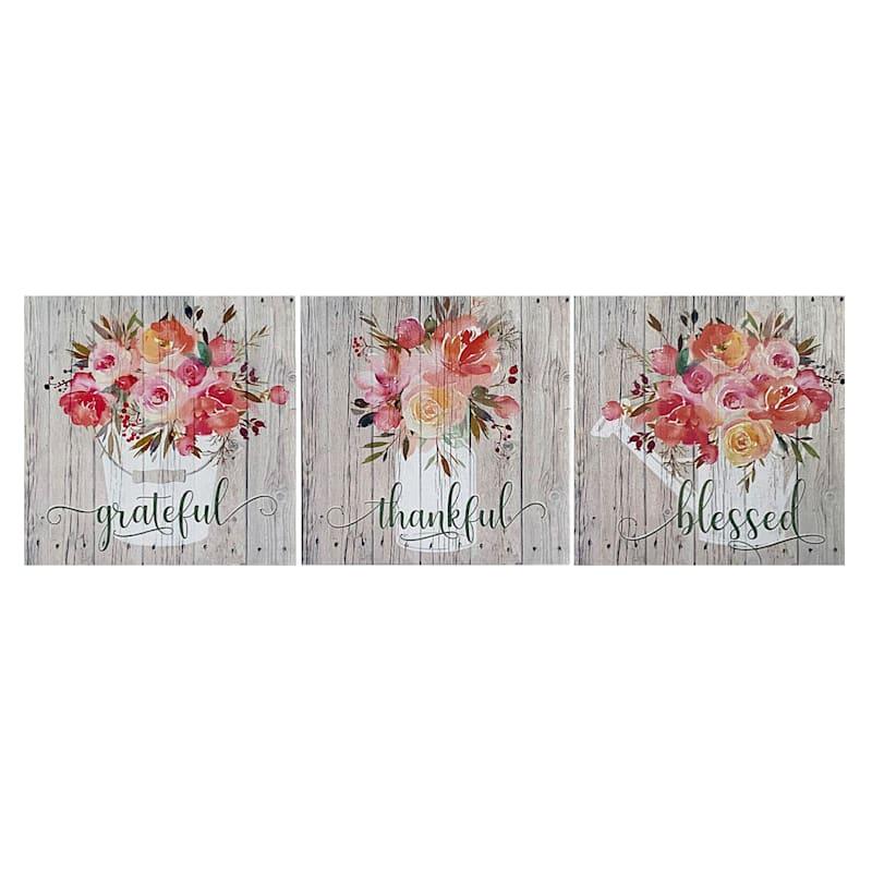 3-Piece 6X6 Grateful Thankful Blessed Bouquet Canvas Art Set