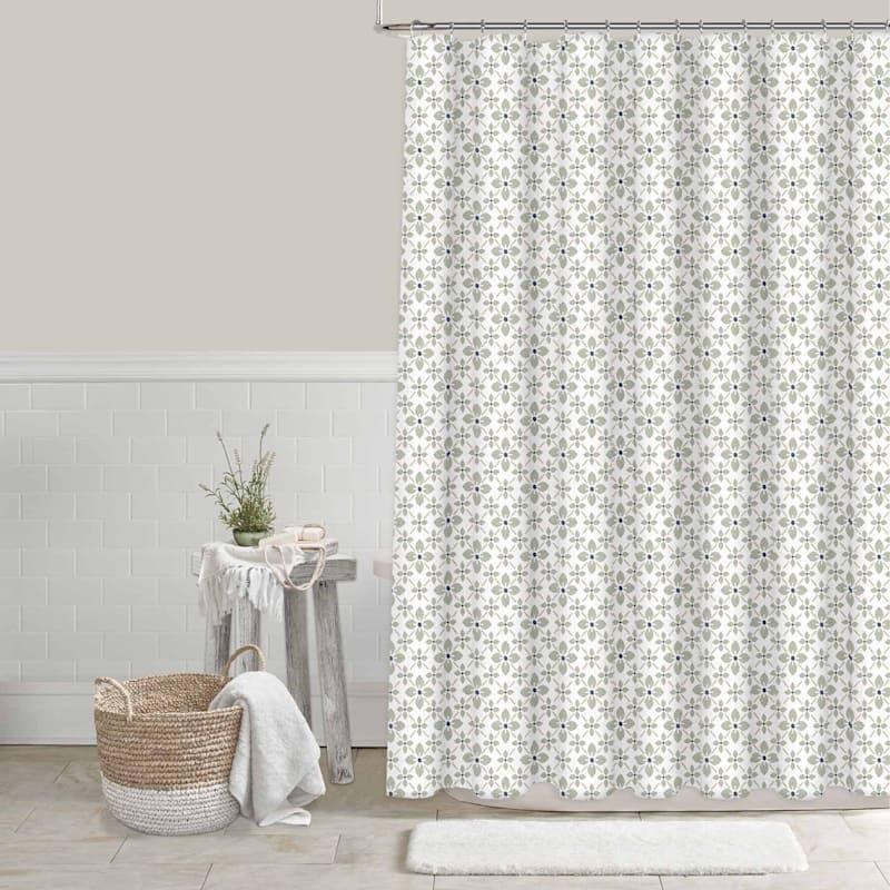 Tracey Boyd Green Floral Geo Shower Curtain 72X72
