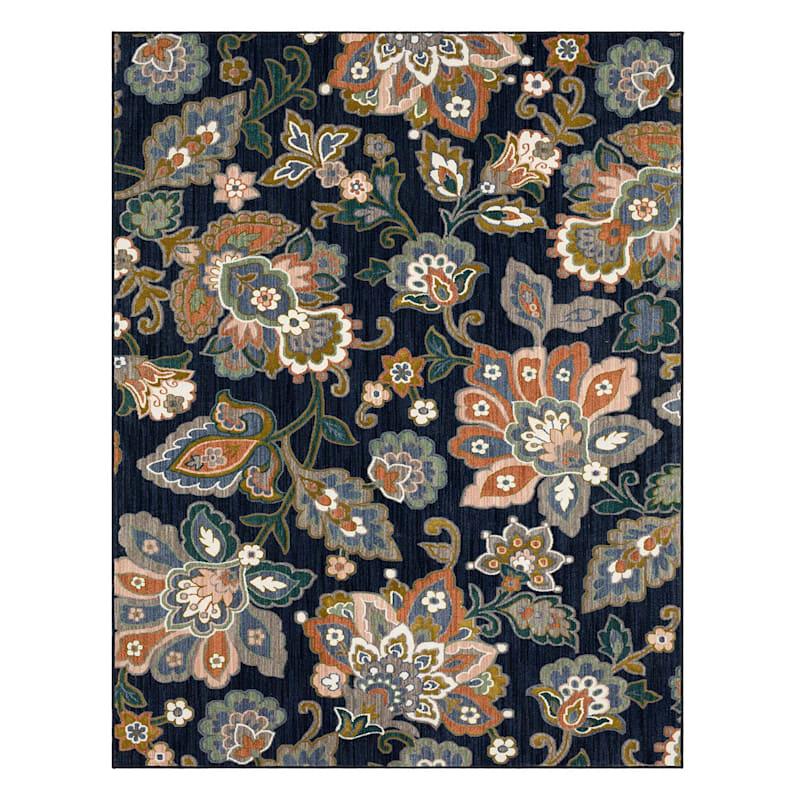 (B662) Canopy Floral Indigo Rug, 7x10