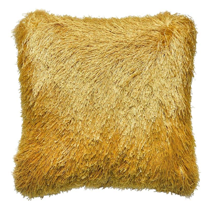 Outdoor Shaggy Pillow- Gold