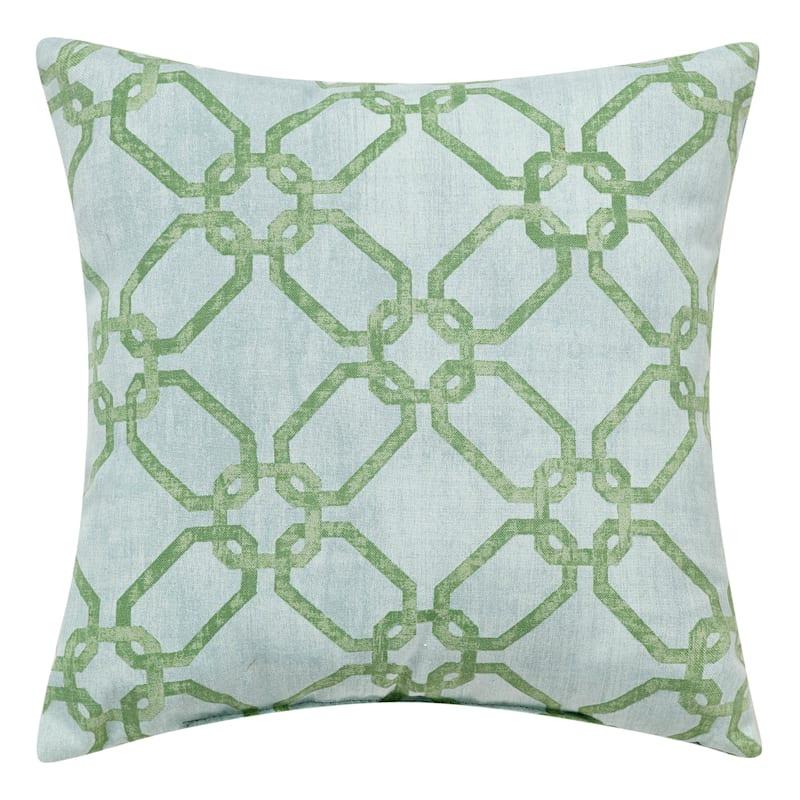Green/Blue Outdoor Pillow - Velvet Lattice