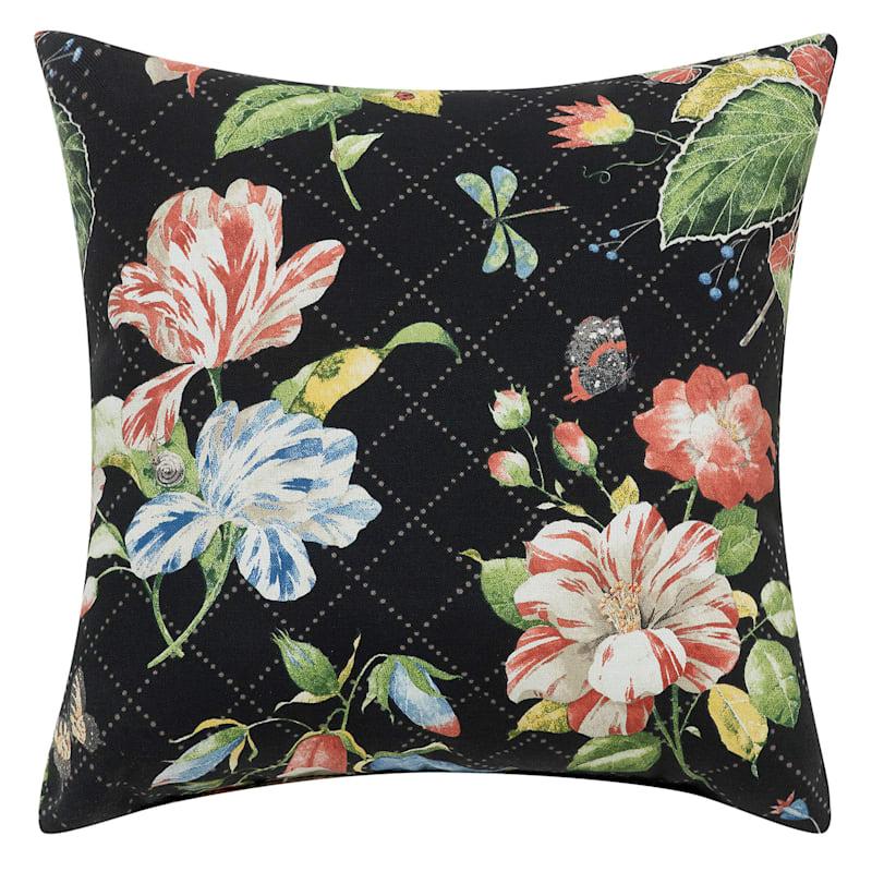 Black Outdoor Pillow - Springtime