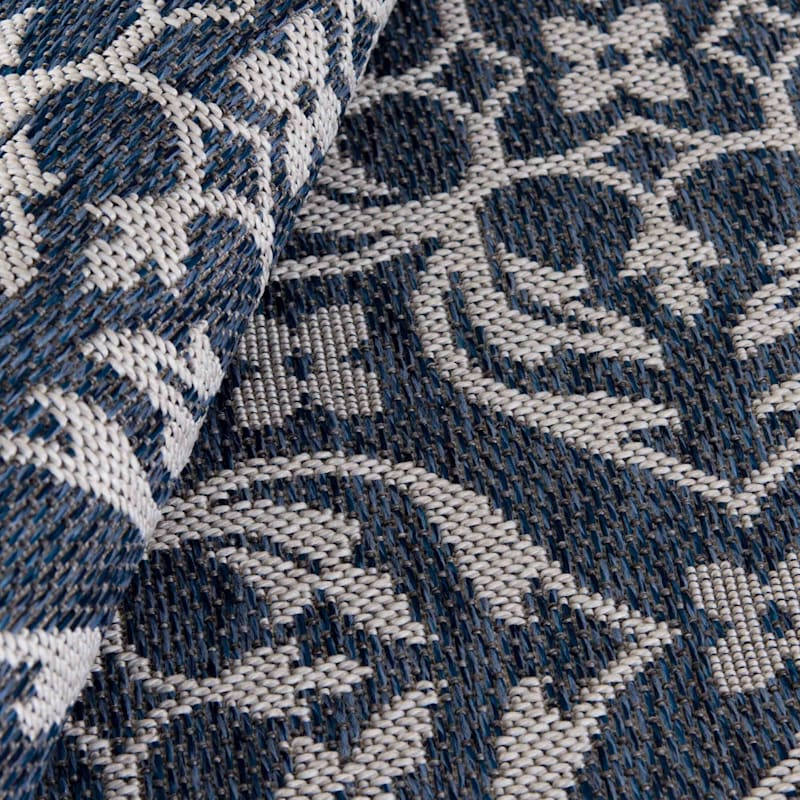(E308) Kenton Cobalt Indoor/Outdoor Woven Area Rug, 7x10