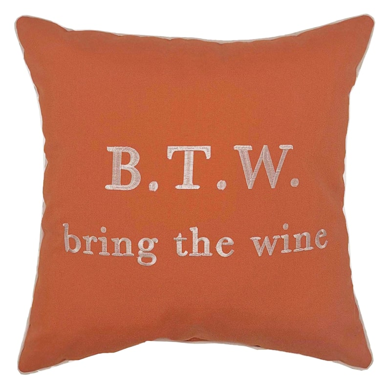 Outdoor Pillow - Bring The Wine - Coral