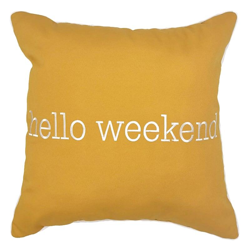 Outdoor Pillow - Hello Weekend - Yellow