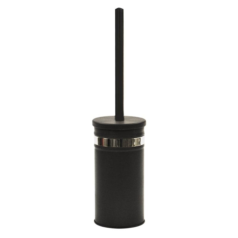 Bandit Matte Black/Chrome Toilet Bowl Brush Holder/Removable Liner