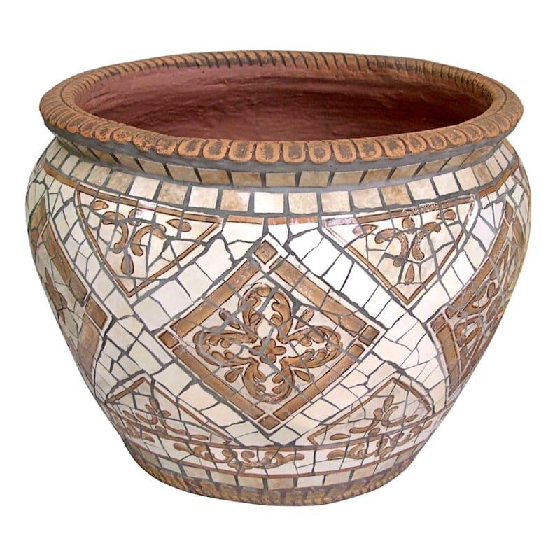19.5in. Brown Tile Mosaic Round Planter