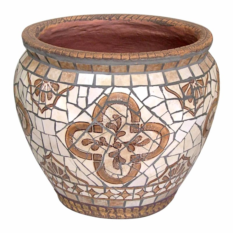 14.5in. Brown Tile Mosaic Round Planter