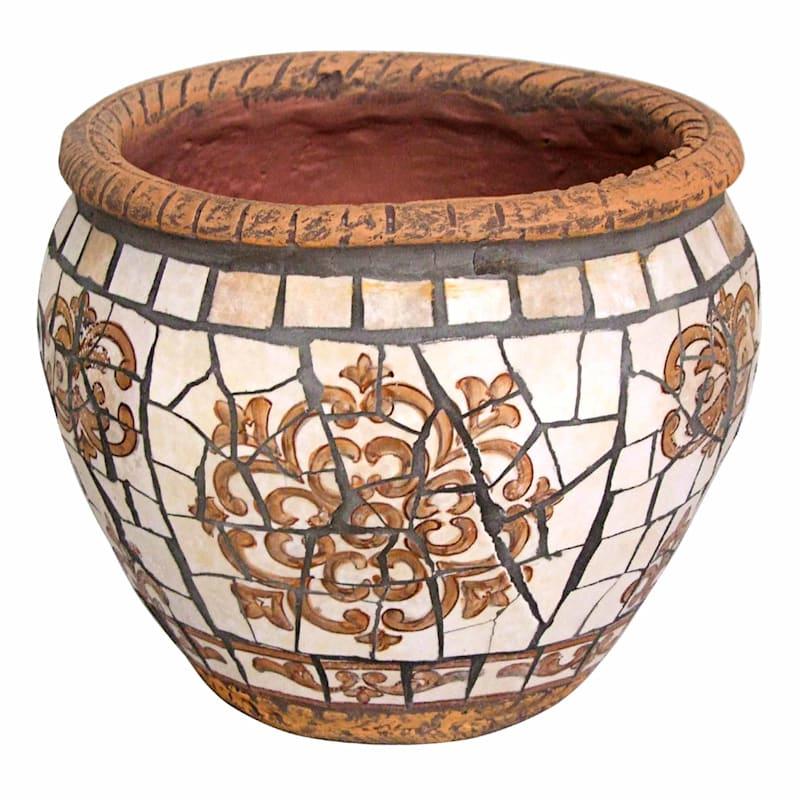 9.5in. Brown Tile Mosaic Round Planter