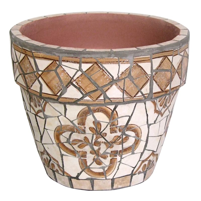 8in. Brown Tile Mosaic Round Pot