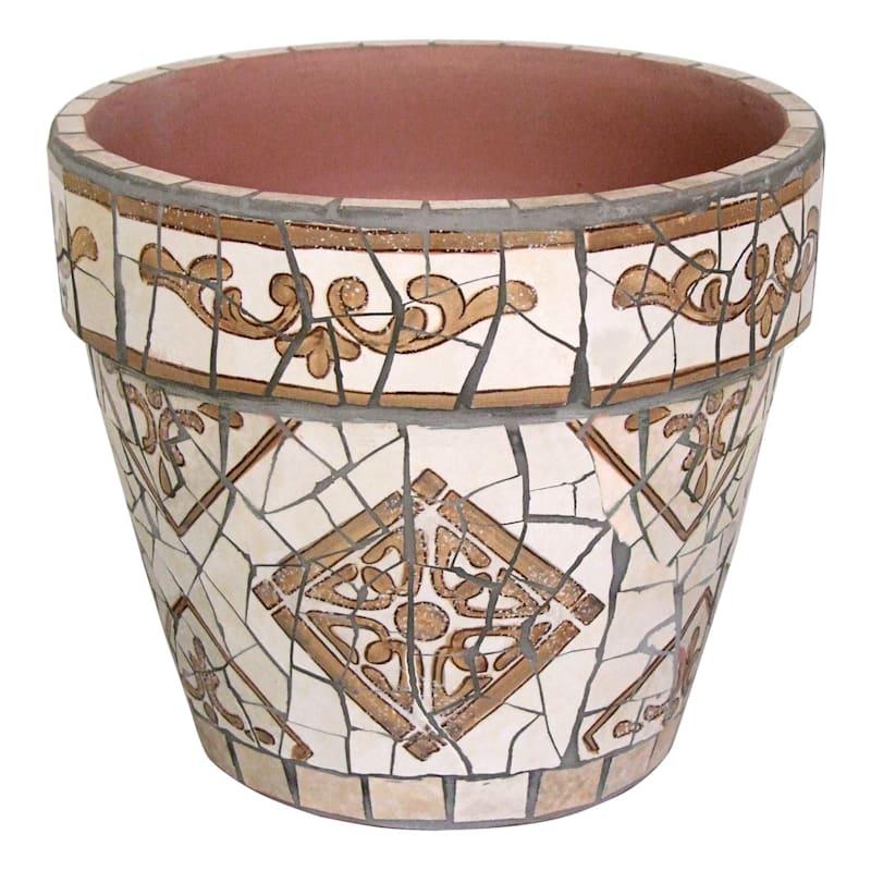 10in. Brown Tile Mosaic Round Pot Large