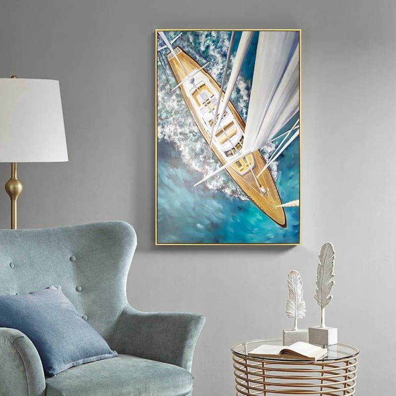 25X36 Sailing Around The World Framed Canvas Art
