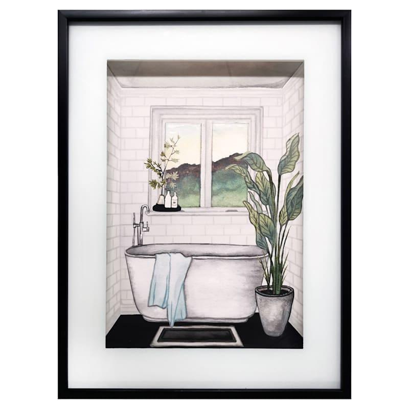 12X16 Modern Black/White Bath Ii Framed/Glass Art