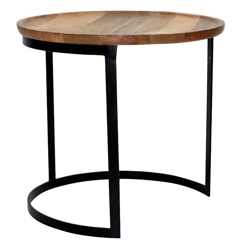 Mango Wood Top Side Table With Metal Base, Large