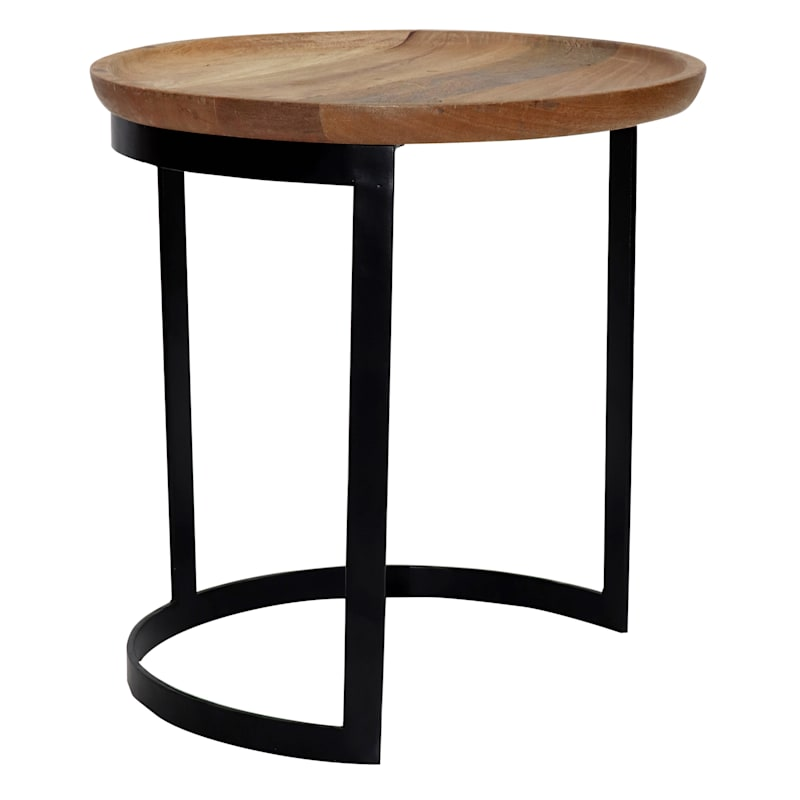 Mango Wood Top Side Table With Metal Base, Small
