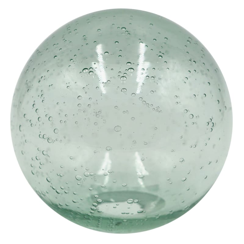 4.9in. Recycle Green Bubble Glass Orb