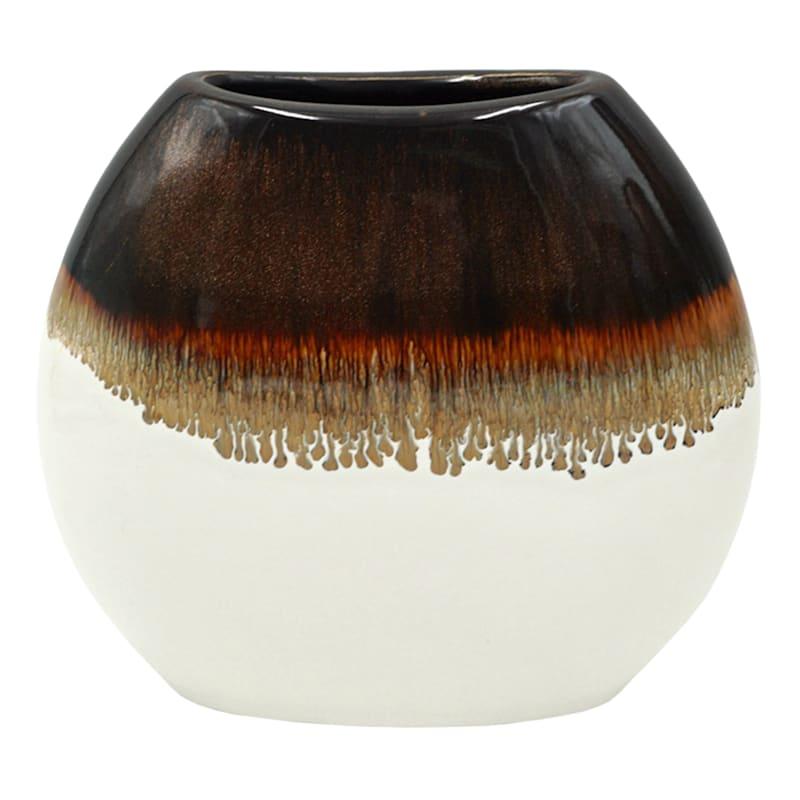 7.9in. White Brown Ceramic Vase