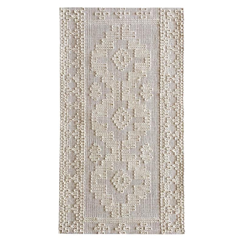 (B669) Goa Ivory Tribal Handmade Rug, 3x5