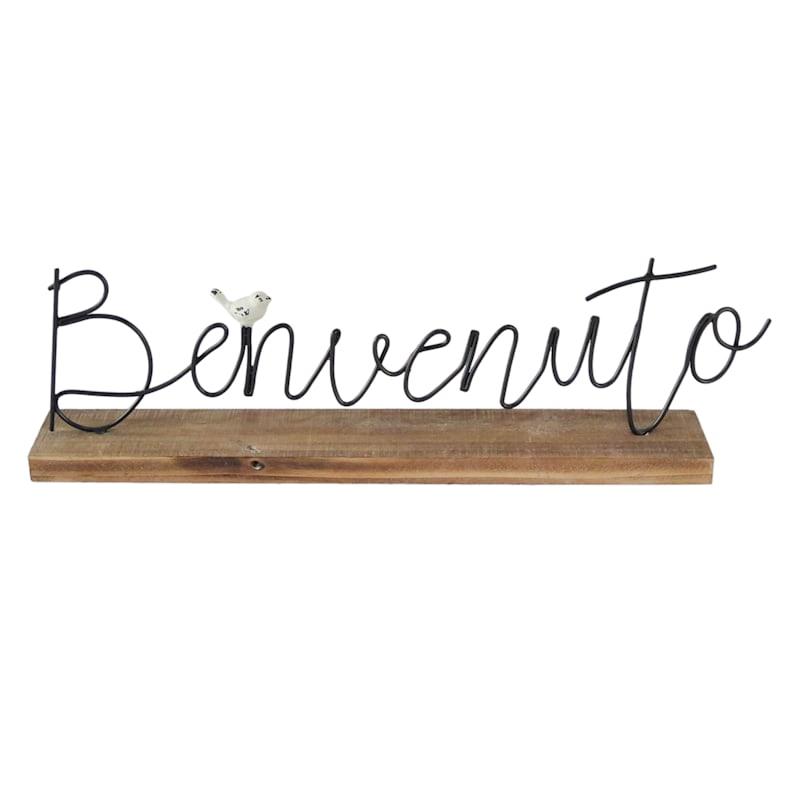 Black Metal Tabletop Sentiment Sign - Benvenuto