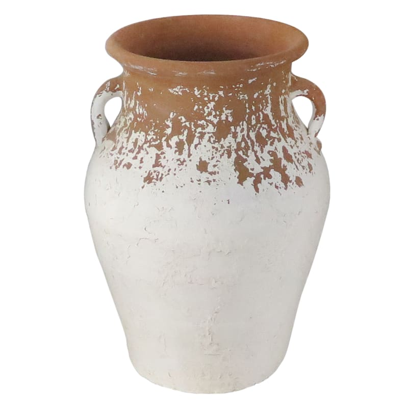 11X15 White Brown Vase With Handle