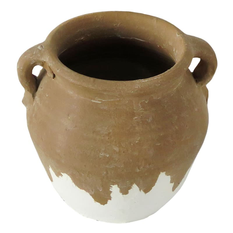 7X6 Brown White Vase with Handles