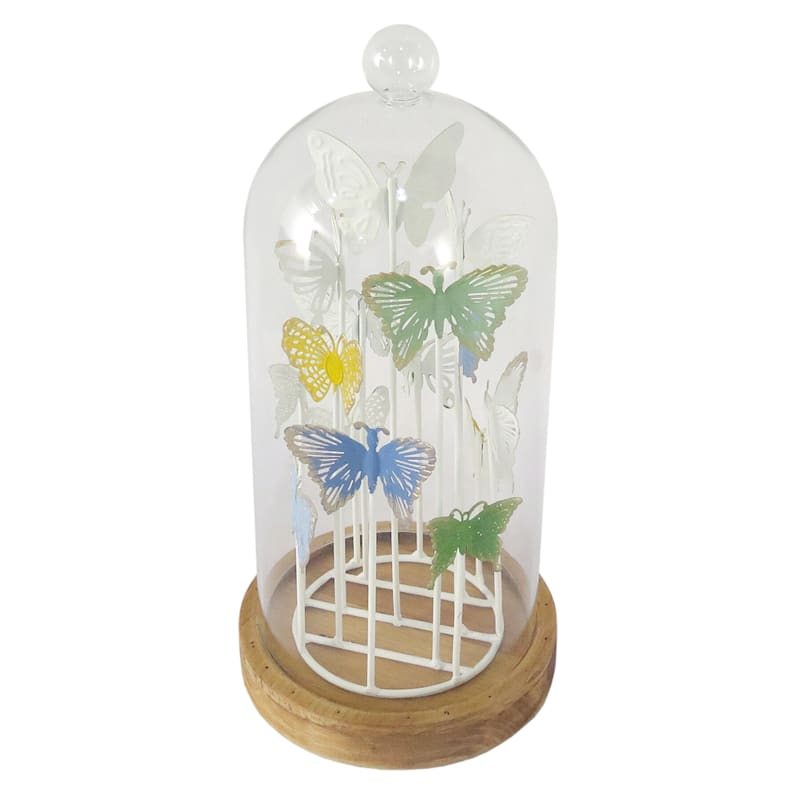Grace Mitchell Colorful Butterfly In Cloche 13in. High