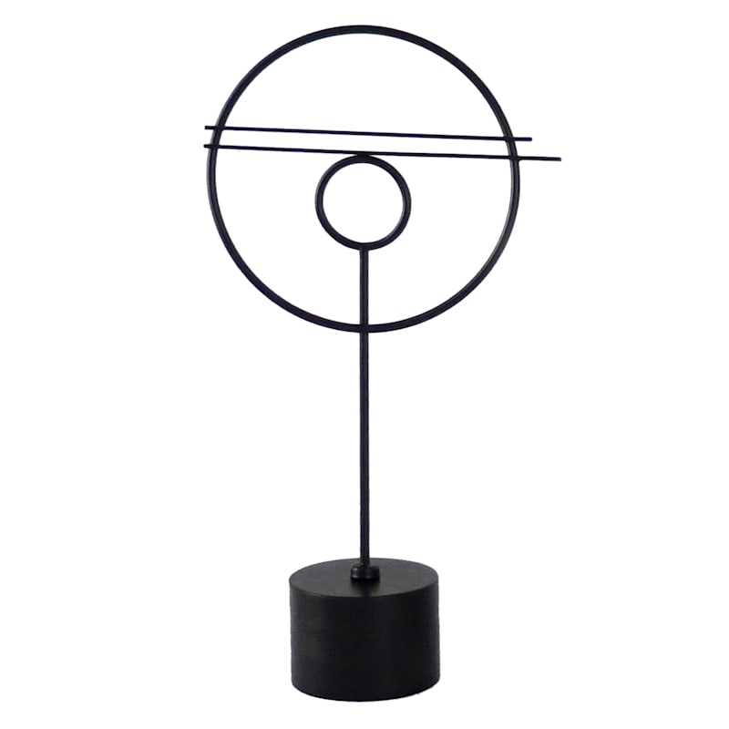 Black Metal Round Decor Object 20in. High