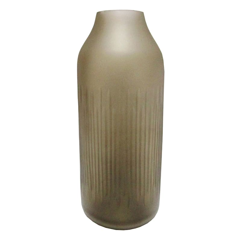 Tracey Boyd Tybd 12in. Brown Etched Ribbed Vase