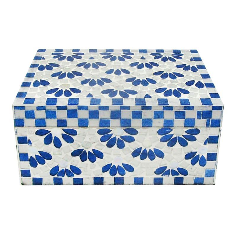 Tracey Boyd 8X5 Blue Floral Mosaic Box