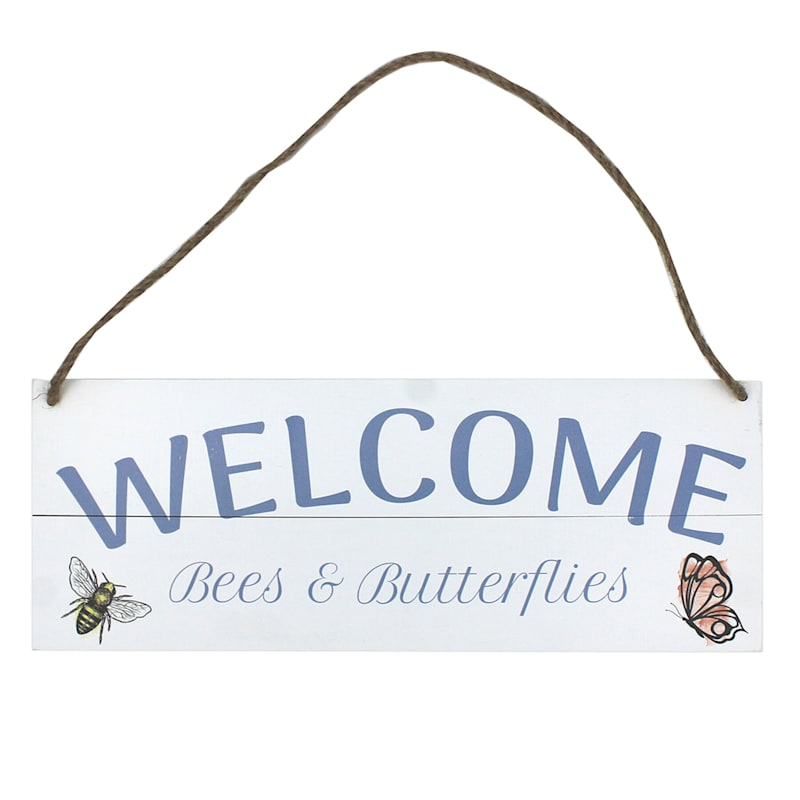 Grace Mitchell Welcome Bees & Butterflies Hanging Wood Pallet Sign, 16X6