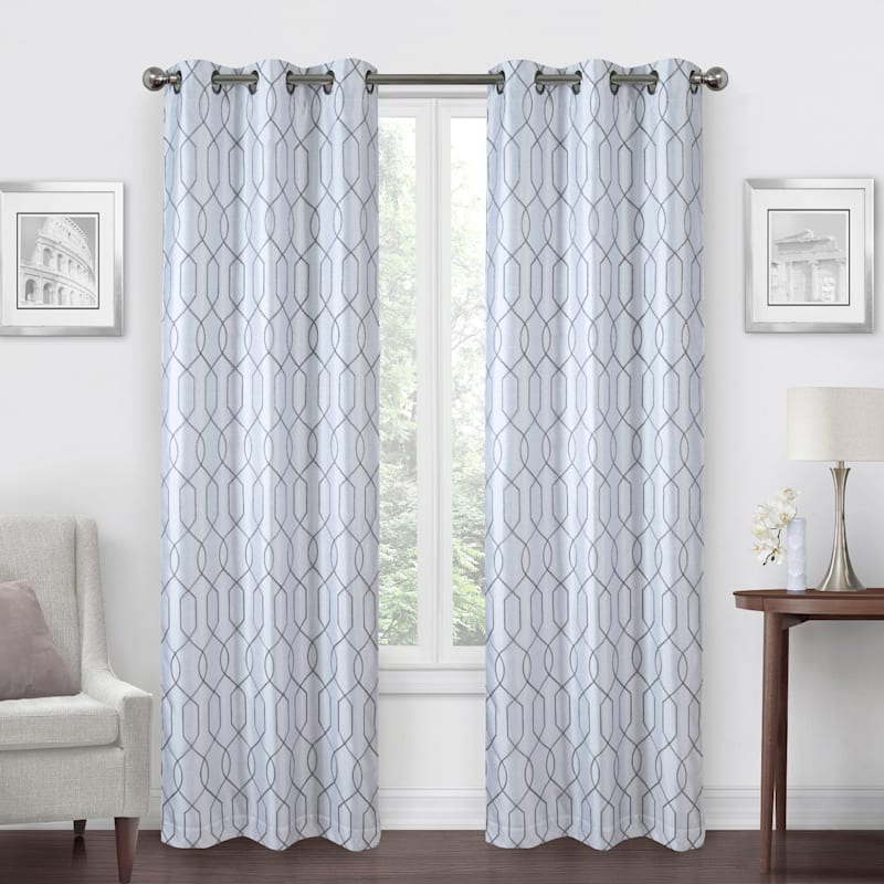White/Grey Faux Silk Embroidered Blackout Grommet Window Panel 84in.