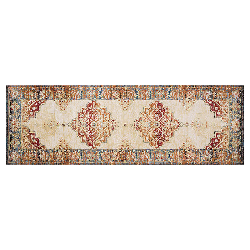 (D474) Alisa Medallion Ivory Sunset Runner, 2x7
