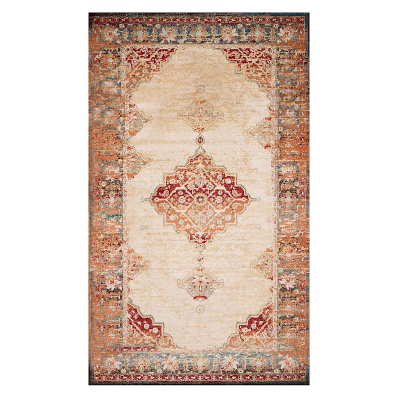 (D474) Alisa Medallion Ivory Sunset Area Rug, 5x7