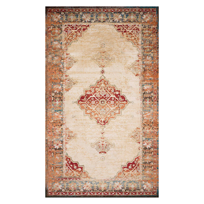 (D474) Alisa Medallion Ivory Sunset Area Rug, 8x10