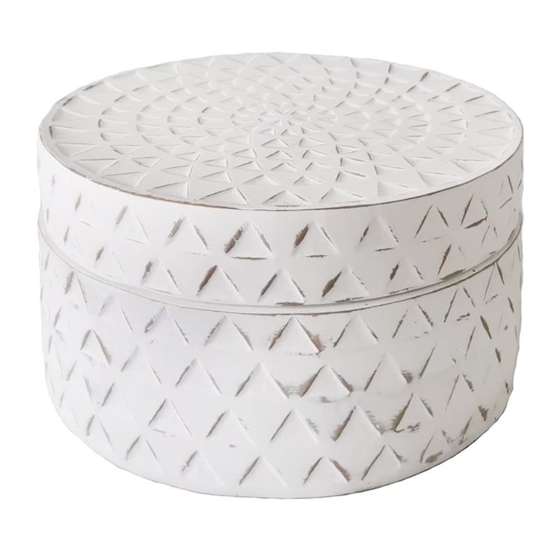 6in. White Resin Round Box