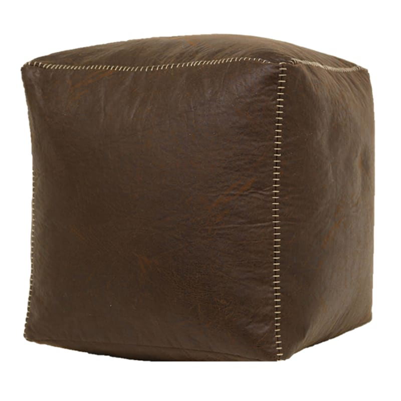 Faux Leather Brown Pouf with Baseball Stitch