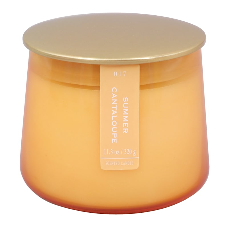 Summer Cantaloupe 11.3oz Gold Lip Glass Candle