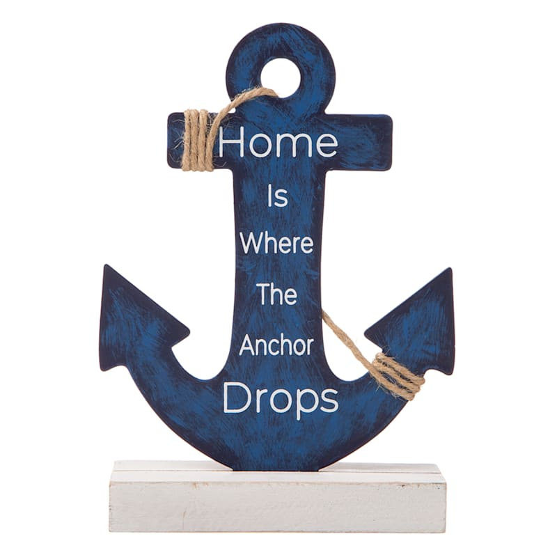 Wood and Metal Blue Anchor Home Sign