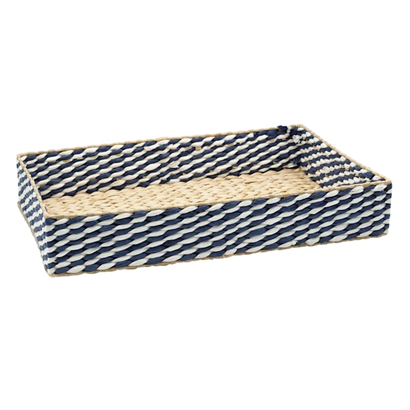 20in. Blue/Tan Paper With Grass Weave Storage Tray