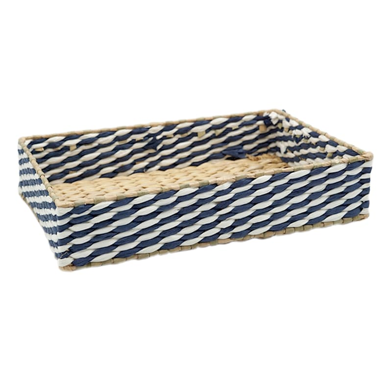 13in. Blue/Tan Paper With Grass Weave Storage Tray
