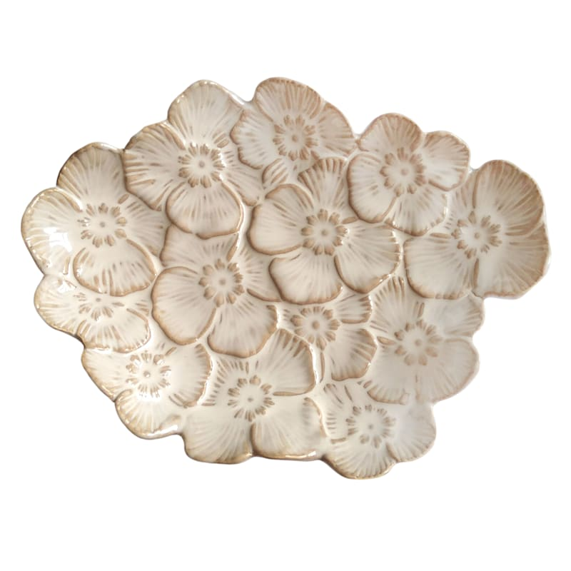 Tracey Boyd 9in. White Floral Trinket Tray